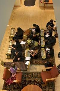 ariel view of gamelan players from above